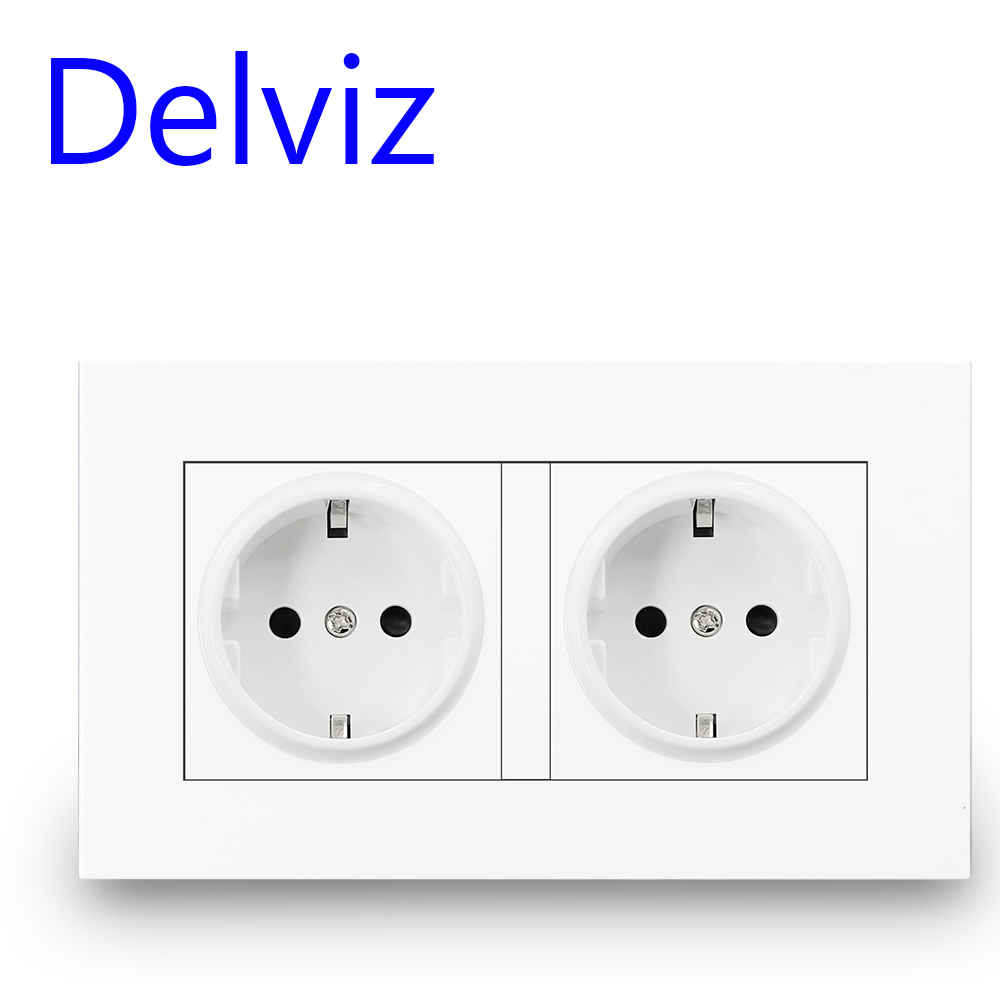 Delviz 16A EU Standard Socket, Double Outlet, White Quality Power Panel AC 110~250V 146mm * 86mm, Double Frame Wall Power Outlet