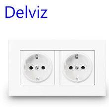 Delviz-toma de corriente de pared de doble marco, enchufe estándar europeo de 16A, doble salida, panel de alimentación de calidad blanca CA 110-250V 146mm * 86mm, toma de corriente de pared
