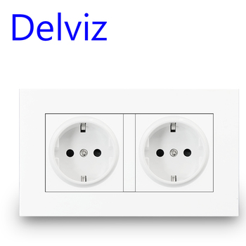 Delviz 16A EU Standard socket, Double Outlet, White Quality power panel AC 110~250V 146mm * 86mm, Double frame Wall Power Outlet livolo eu standard wall power socket white crystal glass panel manufacturer of 16a wall outlet vl c7c2eu 11