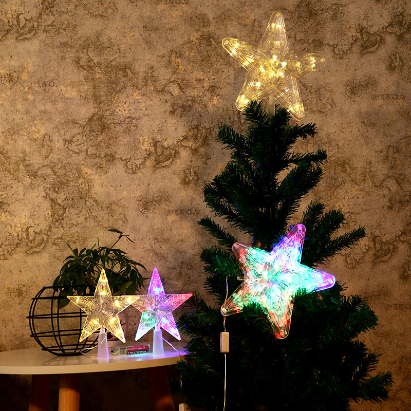 LED 3D Christmas Tree Top Lights Glowing Star Lights Battery Box Pentagram Christmas Topper Lights Decoration Night Light
