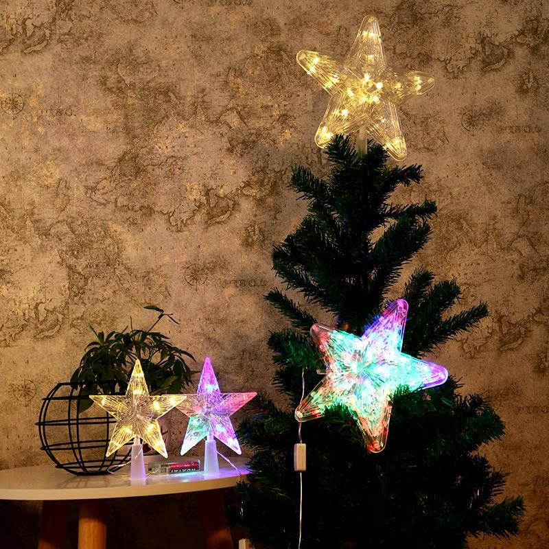 LED 3D Christmas Tree Top Lights Glowing Star Lights Battery Box Pentagram Christmas Topper Lights Decoration Night Light