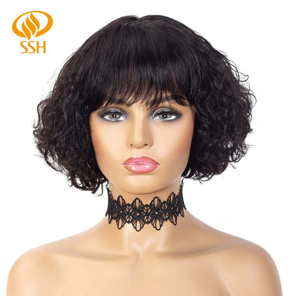 SSH Water Wave Remy Human Hair Wigs For Black Women Brazilian Hair Short Bob With Bang 100% Real Hair Wig Off Black Color