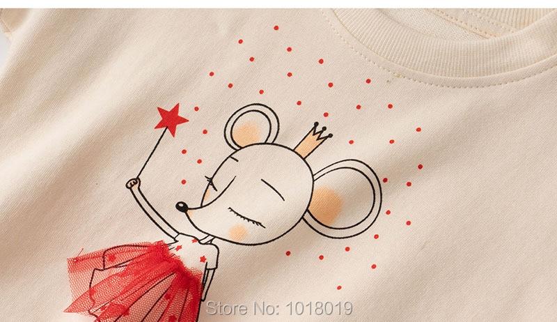 Infant Girls Tops Fleeces Sweatshirt 100% Terry Cotton Sweater Children t shirt Kids Hoodies Blouses Baby Girl Clothes Tee Mouse 5