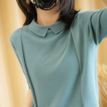 Summer short-sleeved female doll collar new female pullover T-shirt vest knitted large size short-sleeved slim loose T-shirt