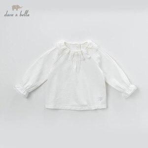 Image 1 - DB13789 dave bella frühjahr baby mädchen nette solide spitze brief shirts säuglings kleinkind tops kinder hohe qualität kleidung