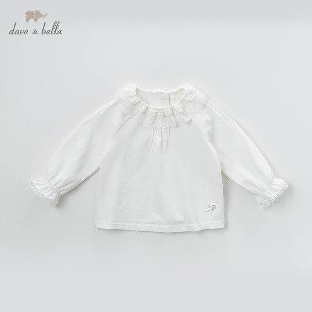 DB13789 dave bella frühjahr baby mädchen nette solide spitze brief shirts säuglings kleinkind tops kinder hohe qualität kleidung