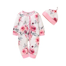 Baby Kids Girl clothes Infant button down floral romper long sleeve Jumpsuit romper Clothes Flowers Romper with hat Fall D20 flounce sleeve surplice wrap floral romper