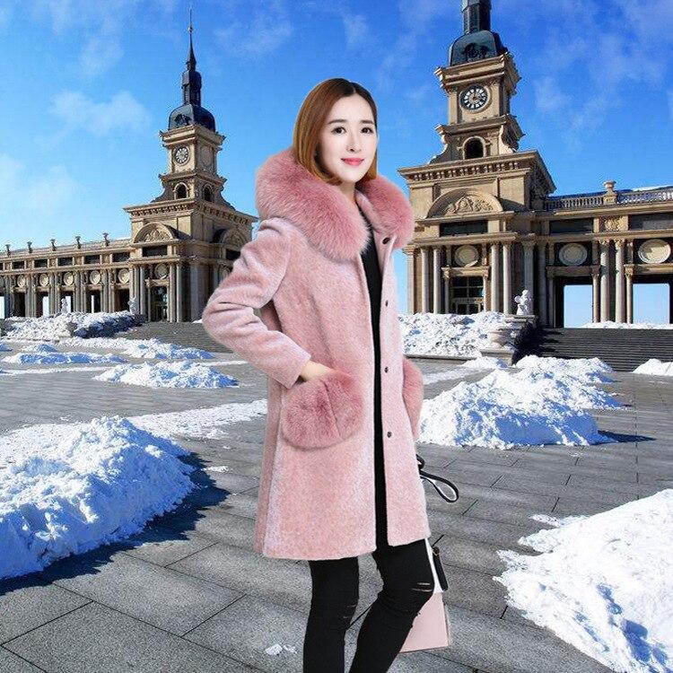 Winter Faux Fur Coat Women Long Pink Fluffy Jacket Fake Fur Coats Warm Overcoat Fall 2020 Chamarras De Mujer KJ889
