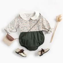 Sanlutoz algodão recém-nascido bebê menina bodysuit princesa roupas de bebê mangas compridas recém-nascidos do bebê bodysuits flores