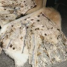 цена на New  heavy industry embroidery star sequins nail pearl Fairy Spirit holiday dress long skirt golden star sequins jacket