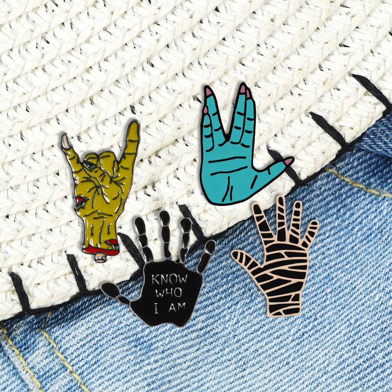 Gesture Enamel Pin Rock Hand Finger Brooch Gothic Punk Badge Denim Jackets Shirts Lapel Pins Funny Jewelry Gifts For Women Men