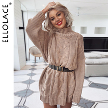 Ellolace Fashion Winter Autumn Knitted Sweater Dress Women Solid Casual Long Sleeve Jumper Turtleneck Knitting Pollover
