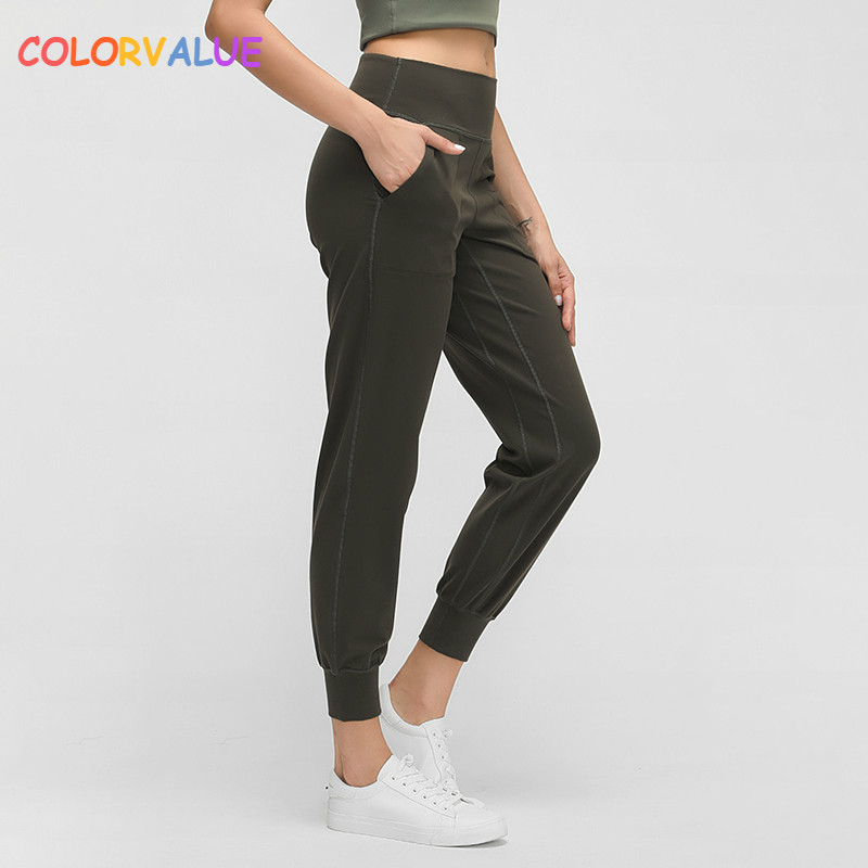 Colorvalue Naked-feel Fabric Loose Fit Sport Workout Joggers Women Butter Soft Elastic Workout Gym Joggers With Two Side Pocket