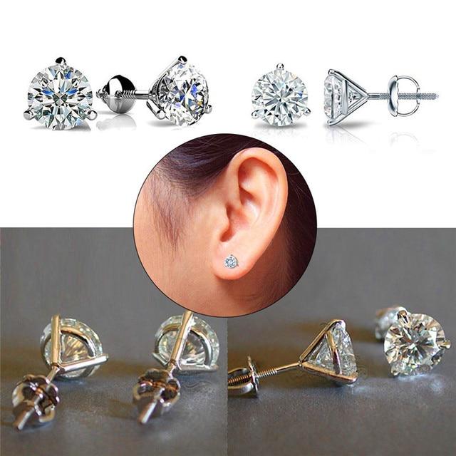 Luxury  6/7or 8mm Round Lab Diamond sterling Earrings 5