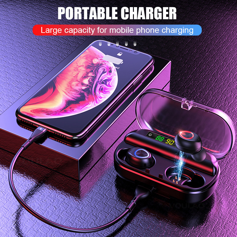 OTTWN V10 Wireless Earphone Bluetooth V5.0 Sports Wireless Headphone LED Display Touch Control Stereo Earbud with Microphone