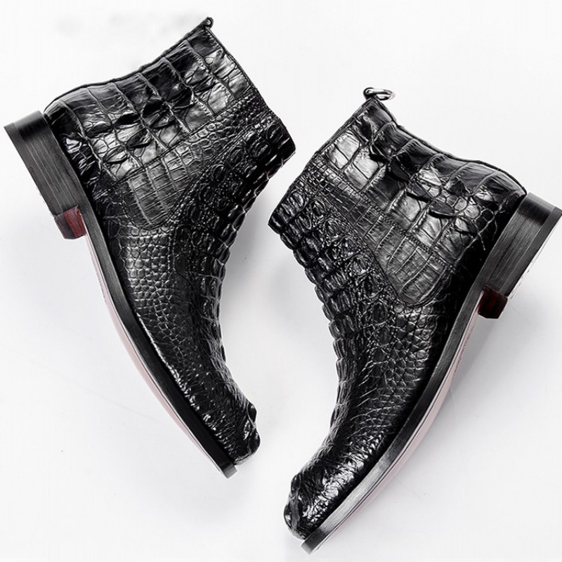 Genuine Crocodile Leather Shoes Men Luxury Business Zip Ankle Boots High Quality British Winter Flat Boots Office Chelsea