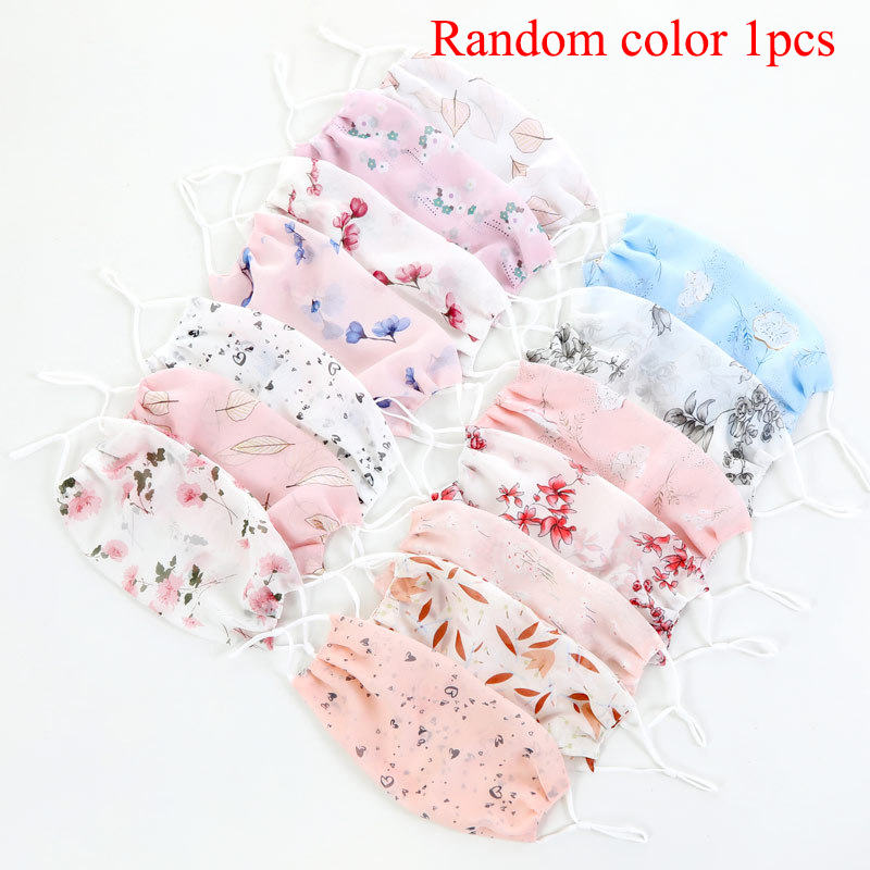 Reusable Women Thin Sunscreen Masks Flower Print Mouth Face Masks Lady's Chiffon Mesh Floral Masks