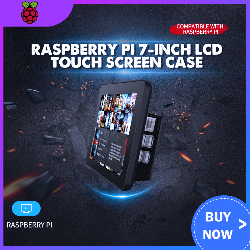 Raspberry Pi 7-Inch LCD Touch Screen Case Black For Raspberry Pi 3B/3B+