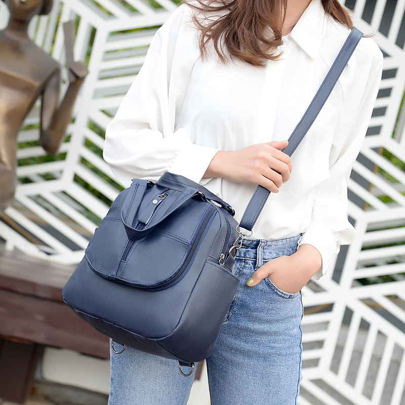 Multi-function Mini Backpacks for Women Small Cute PU Leather Bags Travel Mochilas Para Mujer Multiple Pockets Back Pack Purses