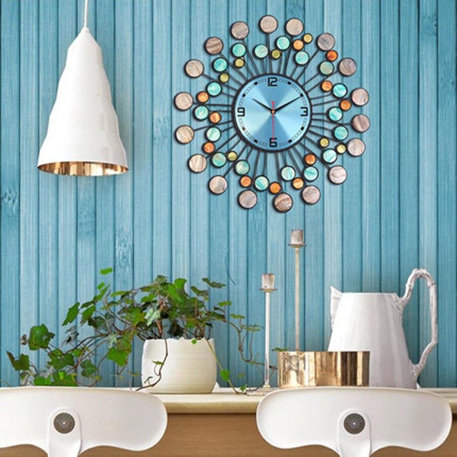 Grande Design Moderno Relógio de Parede Sala de estar Decoração do Metal Ferro Mediterrâneo Relógios de Luxo Relógio de Parede Home Decor Silencioso 58 cm