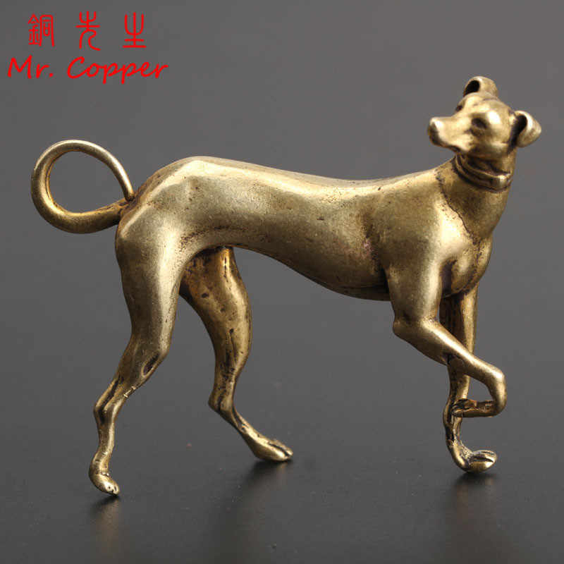 Solid Brass Loyal Dog Desk Ornaments Vintage Copper Animal Miniatures Figurines Decorations Gifts Home Decor Crafts Accessories