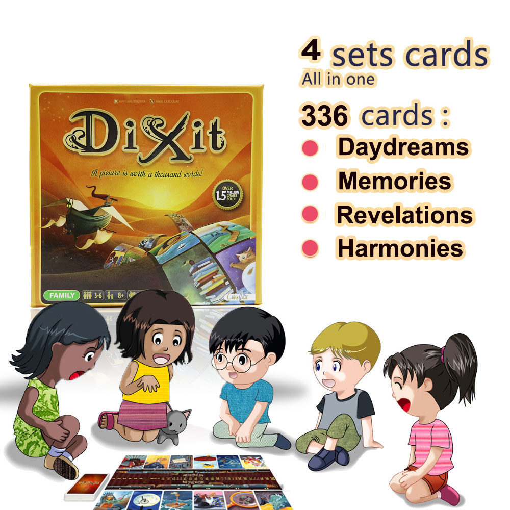 Dixit 6+7+8+9 Board Game For Kids Education 336 Cards Wooden Rabbits Toys For Family Party Fun Russian & English Cards Game