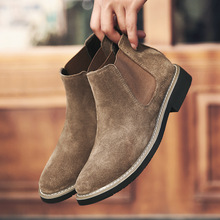 Mens Booties In The Tide To Help Winter Plus Velvet Wild England Snow Shoes Chelsea Short Boots
