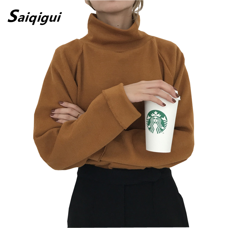 Saiqigui Autumn Winter Turtleneck Knitted Jumpers Women Sweater Casual Loose Large Size Batwing Long Sleeve Crocheted Pullovers