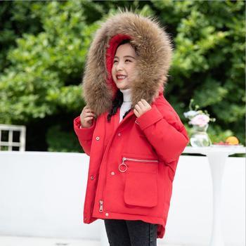 Children girls big real fur collar down jackets warm winter thicken white duck down coats baby girls kids outerwear -30 degree