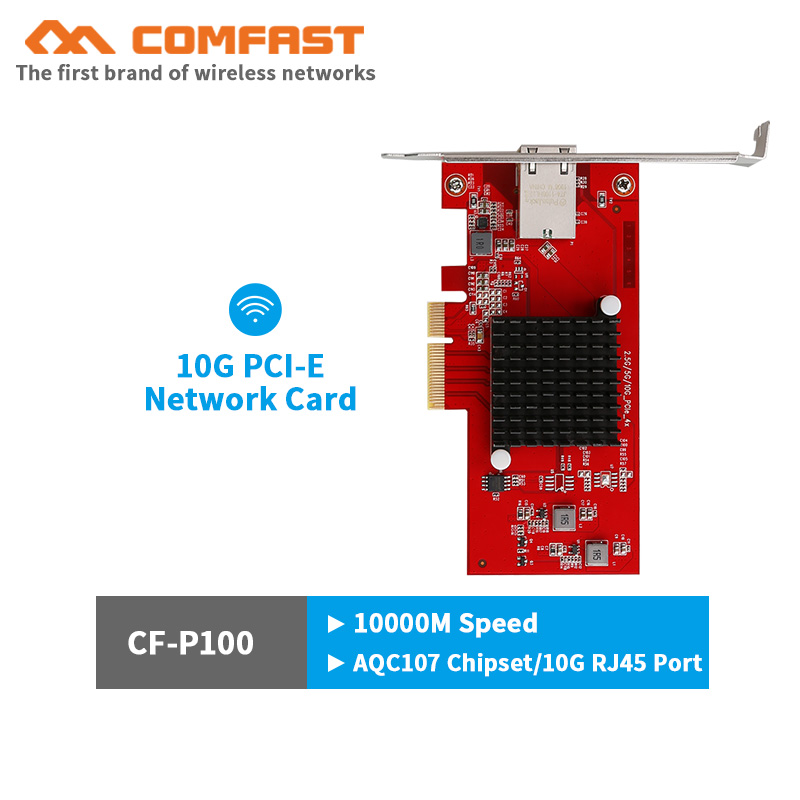 CF-P100 10Gb PCI-E Network Card AQC107 Chipset 2.5G/5G/10G PCIE-X4 Network adapter Fast Transmission Dongle for windows Linux(China)