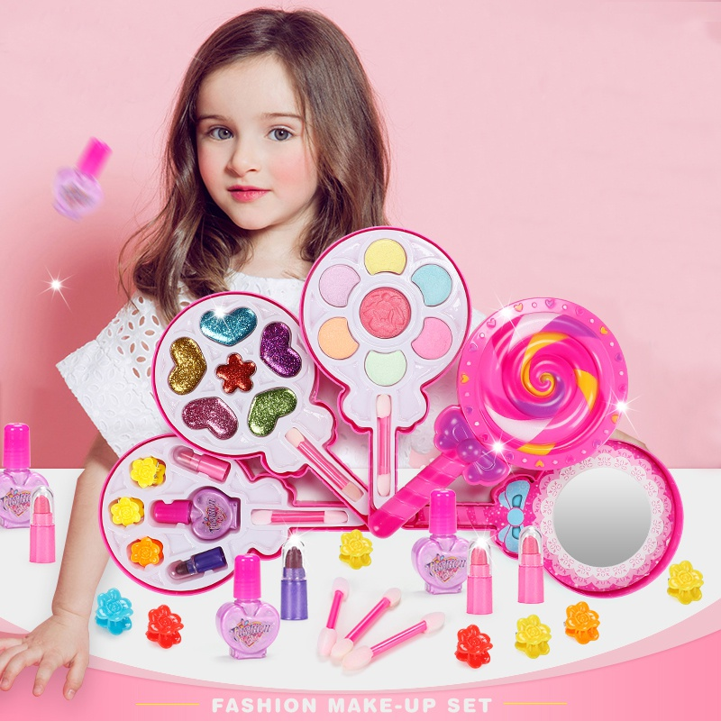 Kids Girls Beauty Toys Pretend Play Girls Princess Makeup Box Set Non-Toxic Lollipop Cosmetics
