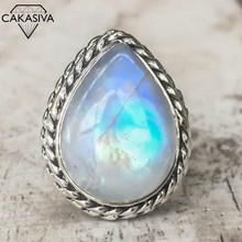 New Large Diamond Water Drop Pear Shaped Moonstone Ring Exaggerates Punk Style 925 Vintage Thai Silver Ring for Women