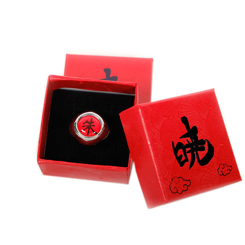 Anime Cosplay Naruto Ring With Box Akatsuki Itachi Pain Orojimaru Ring Finger Adult Ninja Props Accessories Cool Stuff Gift