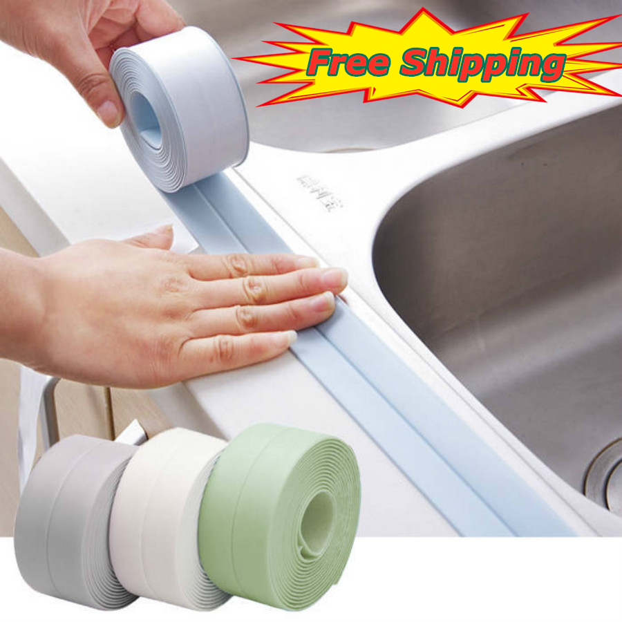 3.2mx22mm 38mm Bathroom Shower Sink Bath Sealing Strip Tape White Self Adhesive Waterproof Wall Sticker For Bathroom Kitchen
