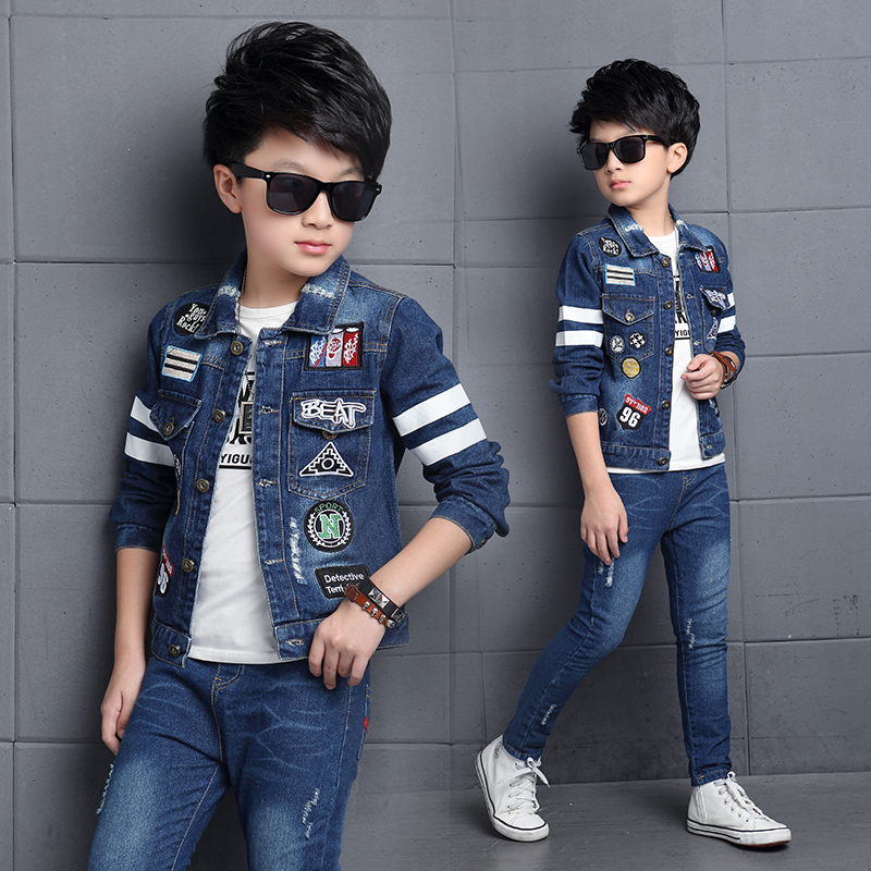 2019 childrens clothing boy spring cowboy and autumn child clothes set 2pcs 4 5 8 9 15 years grils