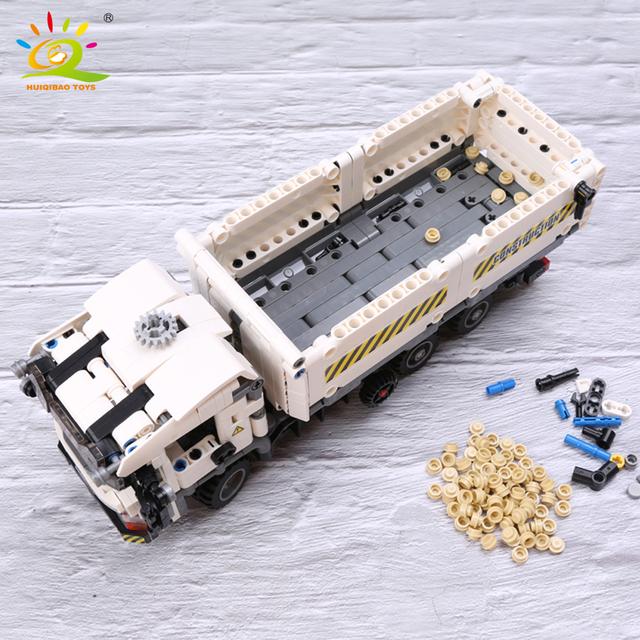 HUIQIBAO 799pcs Technic Engineering Dump Truck Building Blocks Vehicle Car Bricks Set Educational DIY Toys for Children Boys