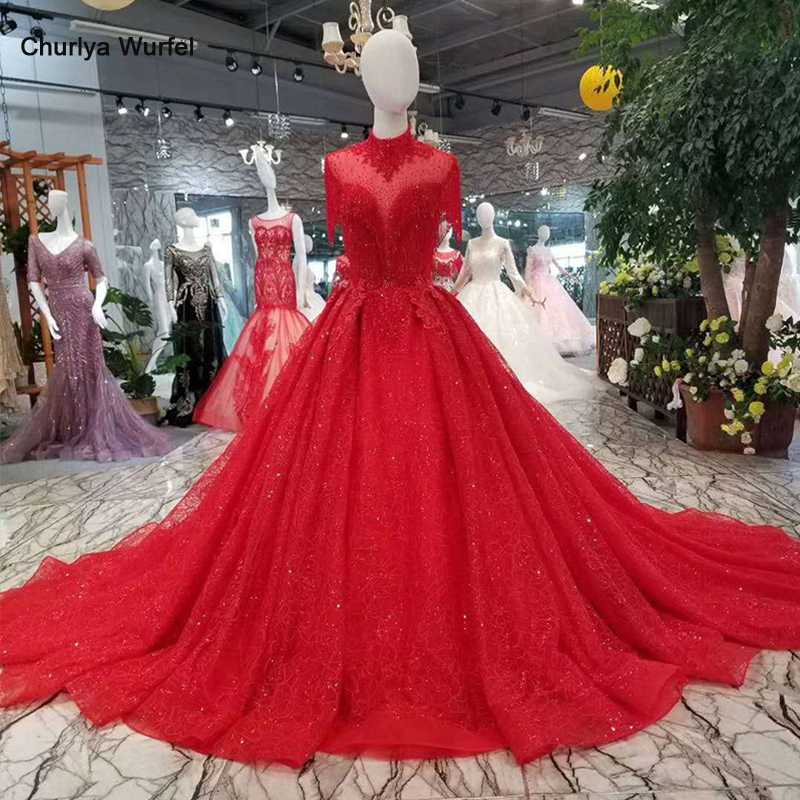 LSS106 red tassel wedding party dress for bride high neck beaded sleeves open back a line