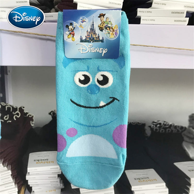Disney Cute Cartoon Girl Cotton Short Stocks Stitch / Monster Power Company Soft Socks Size 35-40 image