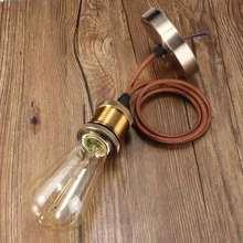 Lámpara E27 sin bombilla Vintage Edison colgante textil luz colgante
