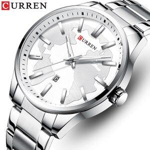 CURREN Топ бренд класса люкс мужские кварцевые часы из нержавеющей стали водонепроницаемые наручные часы простые деловые мужские часы Relogio ...