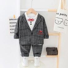 子供服男の子格子縞のスーツセット 2020 ファッション 3 個秋衣装のための少年のジャケット + Tシャツ + パンツ服 1 2 3 4 Y