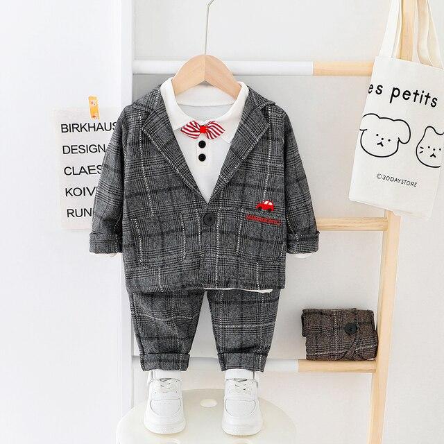Çocuk giysileri erkek bebek ekose takım elbise seti 2020 moda 3 adet güz kostüm erkek ceket + T gömlek + pantolon giyim 1 2 3 4 Y