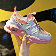 Women sneakers 2019 summer new mesh breathable color matching breathable lace-up platform non-slip sports shoes casual shoes