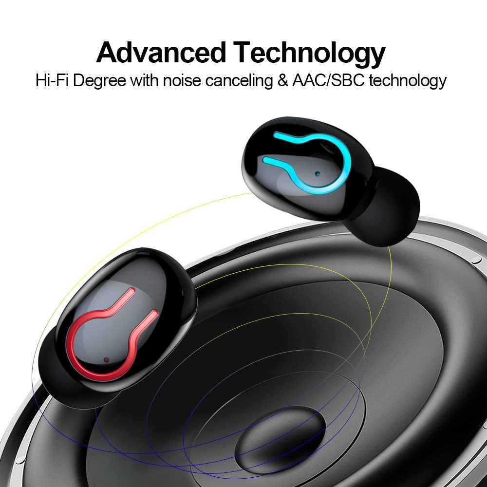 ALWUP-auriculares, inalámbricos por Bluetooth 5,0, auriculares estéreo deportivos impermeables con micrófono Dual y caja de carga de batería de 6000mAh Q66