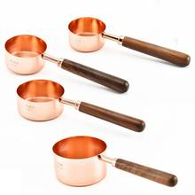 4pcs/set Copper-Plated Cutlery Sets Stainless Steel Measuring Cups/Spoons With Wood Handles Essential Kitchen Tableware #(China)
