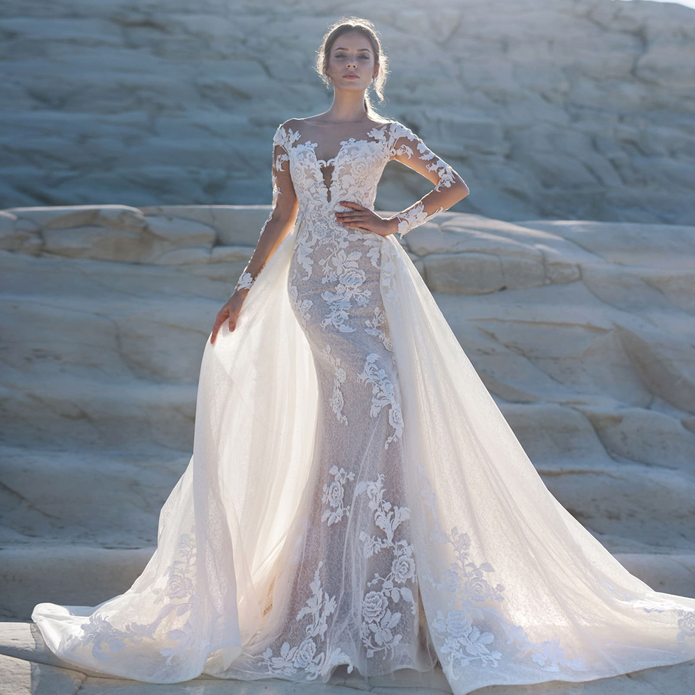 2020 Long Sleeve Mermaid Wedding Dress Boho With Removable Train Robe De Mariee Sirene Appliques Lace Trumpet Gown China