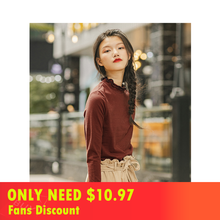 INMAN 2019 Autumn New Arrival Elastic Cotton Double Lace Stand up Collar Striped Slim All Matched Literary Women T-shirt