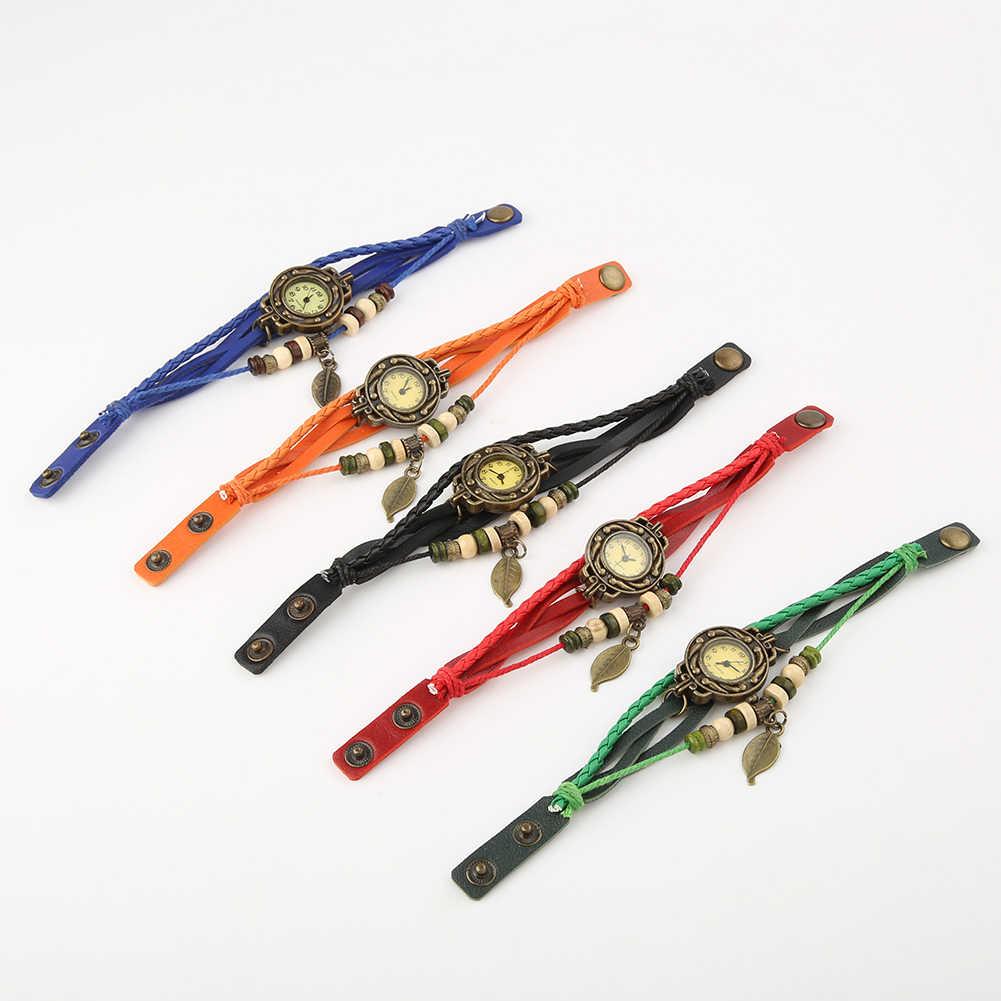 Reloj de pulsera Vintage para mujer, reloj de pulsera de cuero de imitación con hoja de mariposa, reloj de mano de cuarzo y agua, reloj de pulsera para mujer