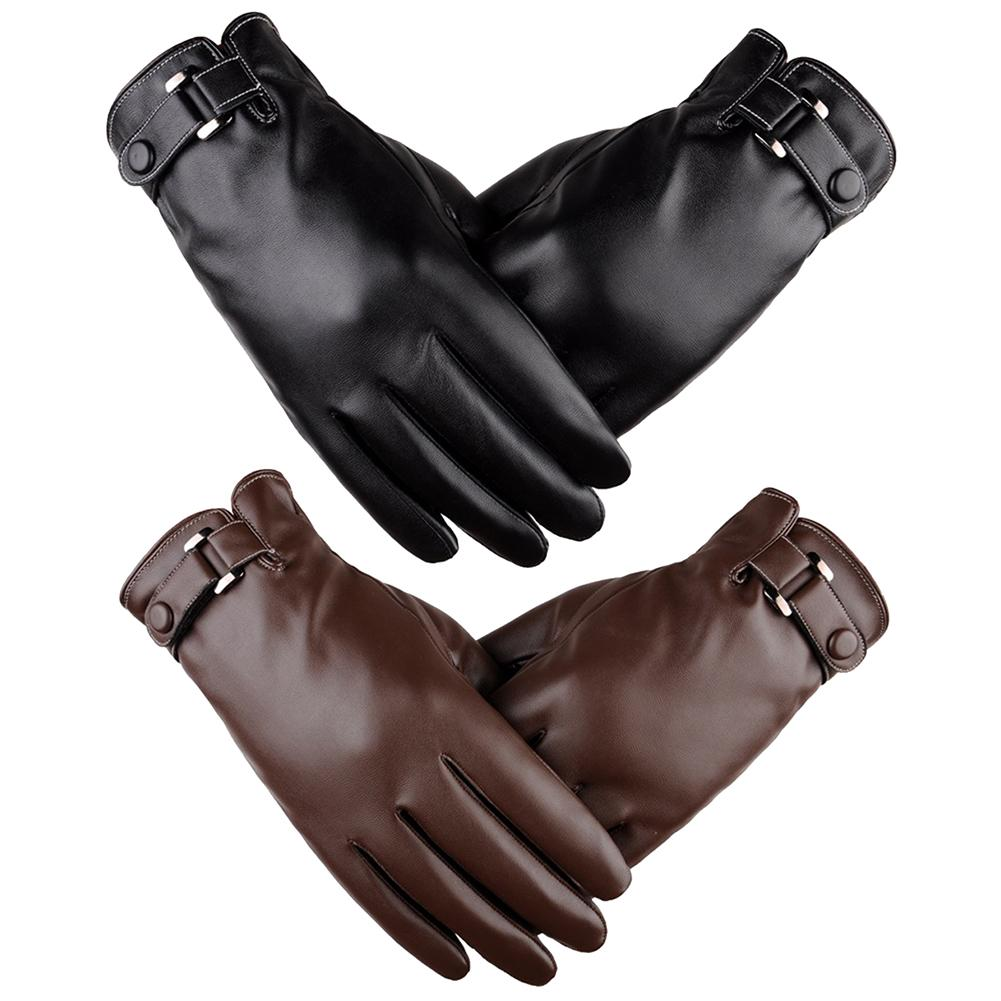 SANWOOD 1Pair Faux Leather Motorcycle Full Finger Gloves For Men Touch Screen Windproof Fashion Winter Warm Gloves