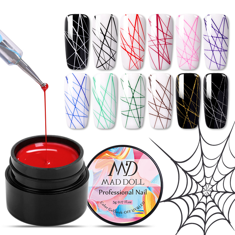 1 Box MAD DOLL 1 Box Spider UV Gel Polish Elastic Drawing Gel Purple Yellow White Mixed Colors Soak Off Nail Art Gel Varnish